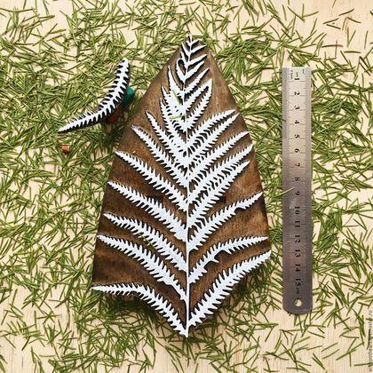 Купить Штамп для печати на ткани ПАПОРОТНИК 2 - бежевый, деревянный штамп, кубовая набойка