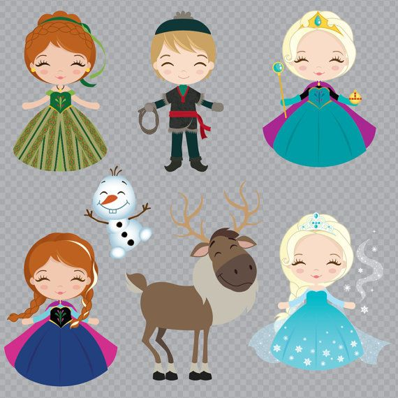 Frozen Inspired Princess Clipart Set Instant Download by araqua
