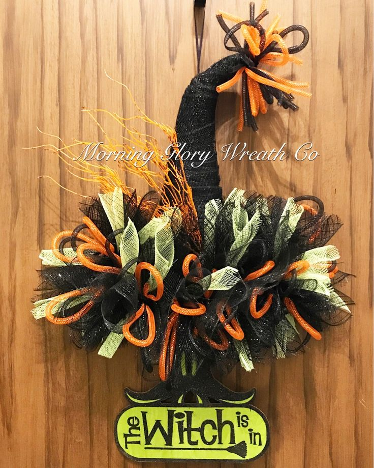 Witch Is In Hat Wreath -Everything used here is from the Dollar Tree. #dollartree finds #dollartree #mylife #witch #wreath #halloween #morningglorywreathco