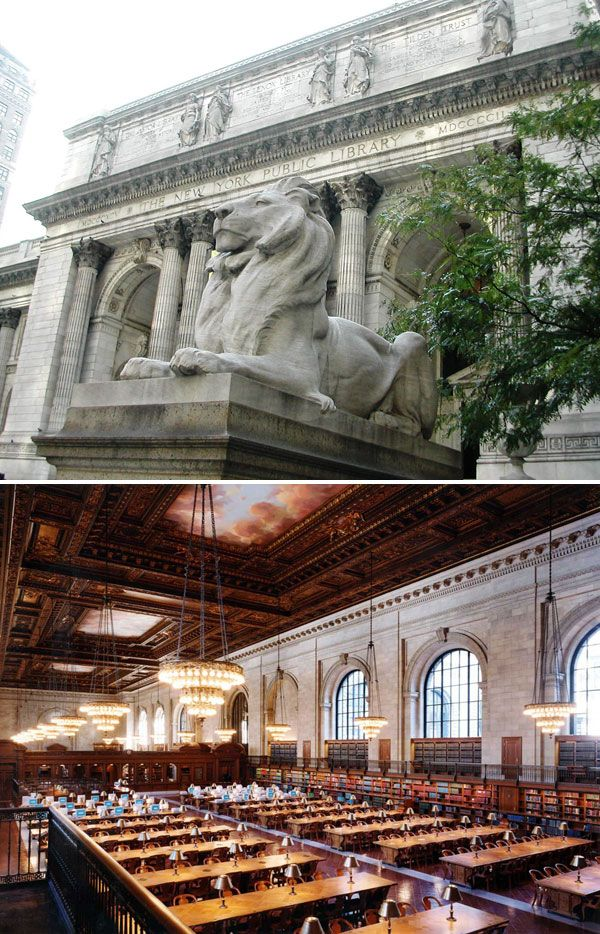 New York Public Library, New York City    http://flavorwire.com/280318/the-25-most-beautiful-public-libraries-in-the-world#15