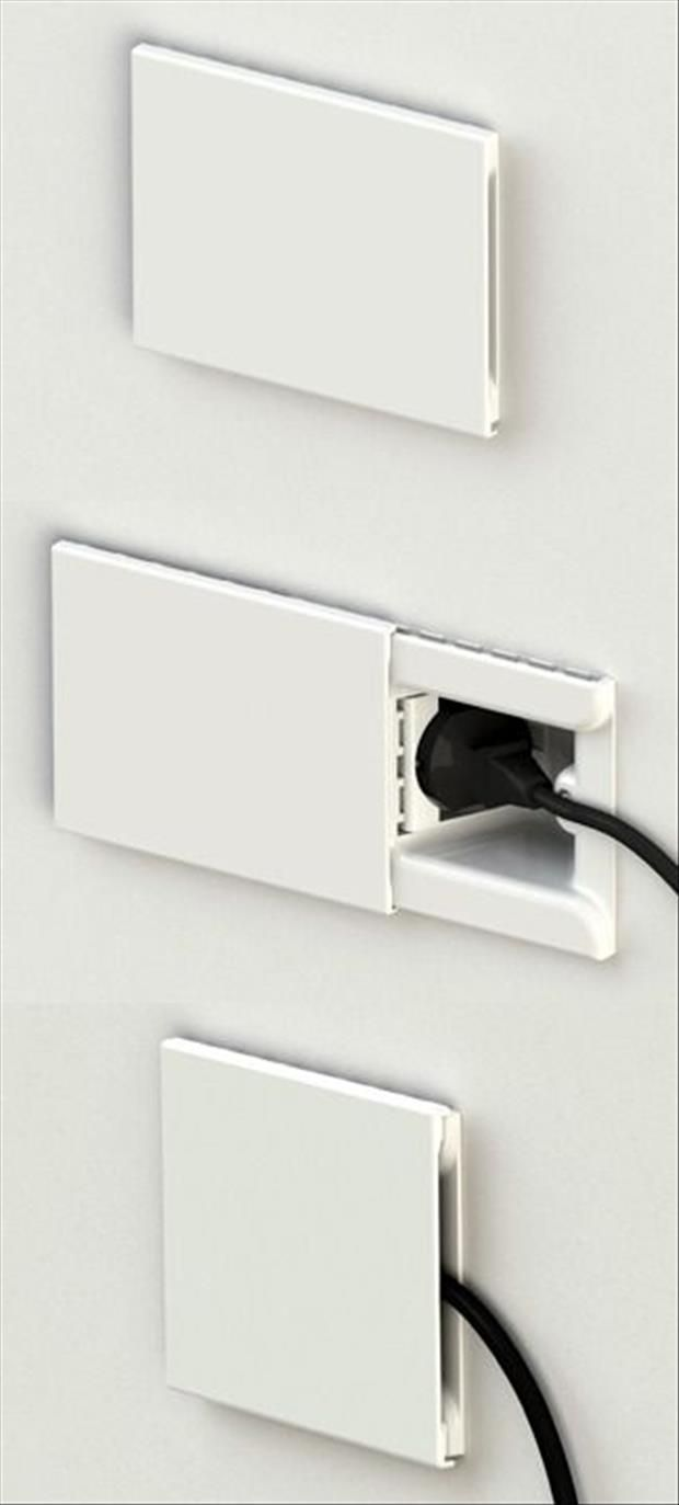Recessed outlets with a cover to ensure that cord is as flush to the wall as possible. LOVE this!