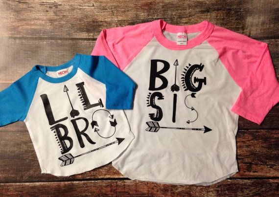 Big Bro Lil Bro Big Sis Lil Sis Arrow Raglan- this listing is for 1 shirt ;) Hip Kids Pregnancy Announcement/Big Sister Shirt! Available in many