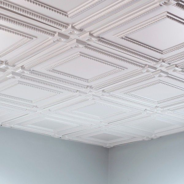 For a drop ceiling in the basement -   Fasade Coffer Gloss White 2-foot Square Lay-in Ceiling Tile