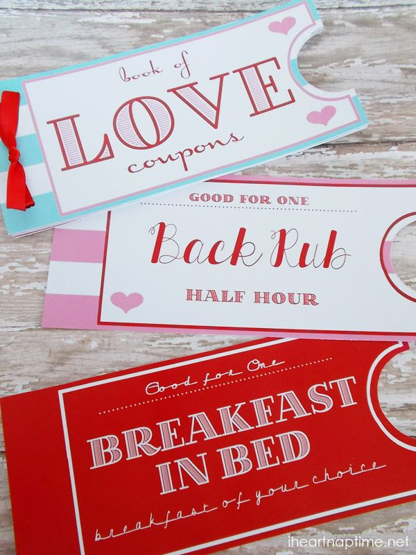 Printable Love Coupon Book #freeprintable on iheartnaptime.com ...such a great idea for Valentines!