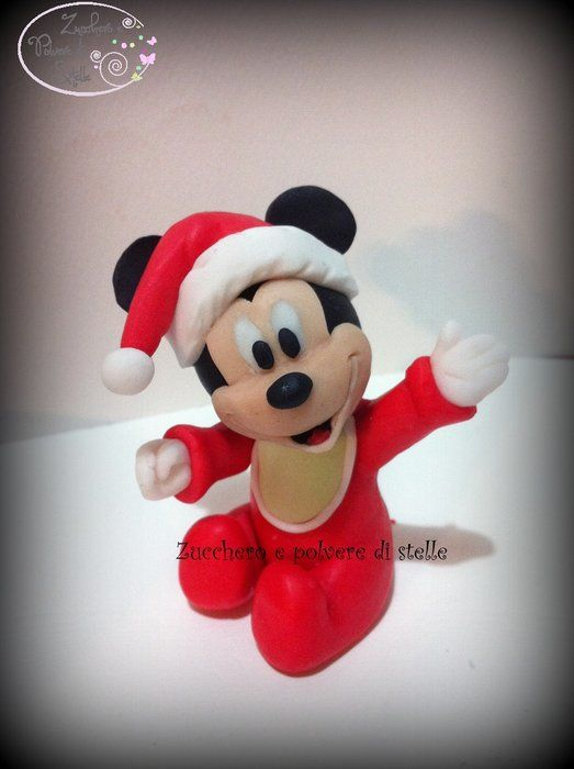 Christmas Baby Mickey Mouse with Tutorial - by ZuccheroeStelle @ CakesDecor.com - cake decorating website