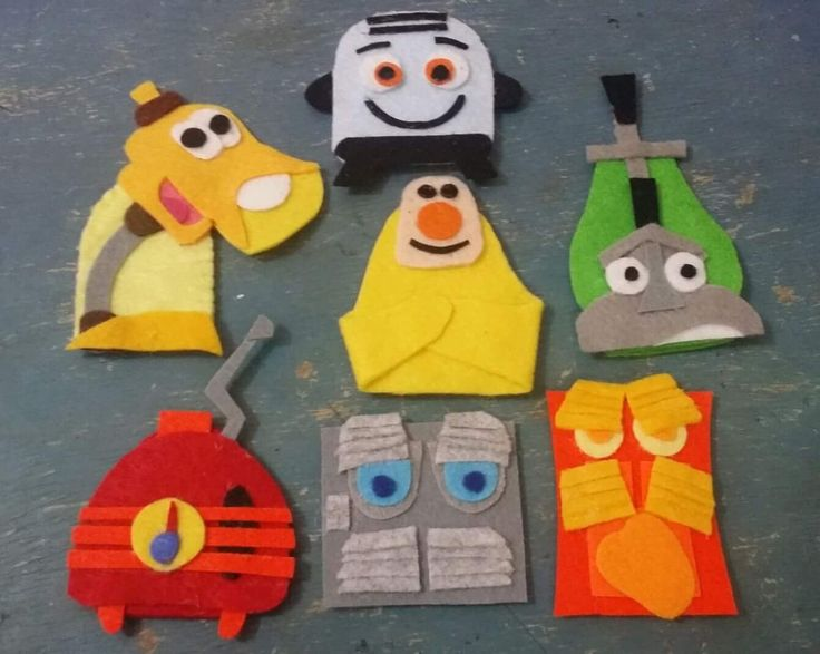 """Commission my friend to make this """"the Brave Little Toaster"""" finger puppets. There are Toaster, Lampy, Radio, air cond, angry air cond, Kirby( vacuum machine), and blankie ( electronic blanket)"""