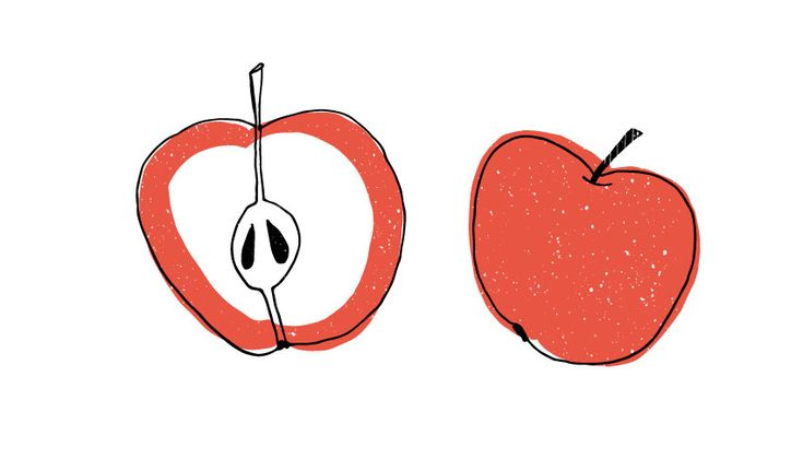 pommes, apple, illustration, Screenprint, drawing, food, cooking