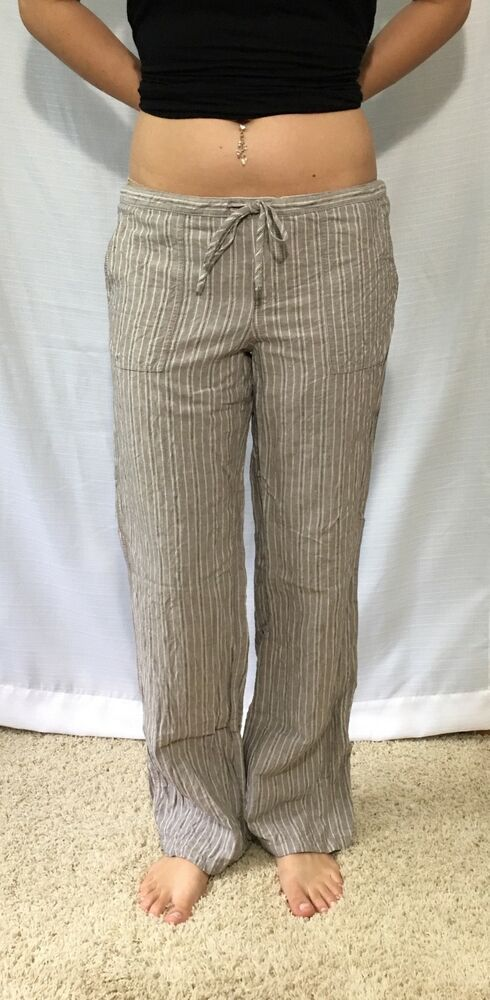 622253da20 Women's Victoria Secret Beige Brown White Beach Pants Linen Front Tie Size 6  | eBay