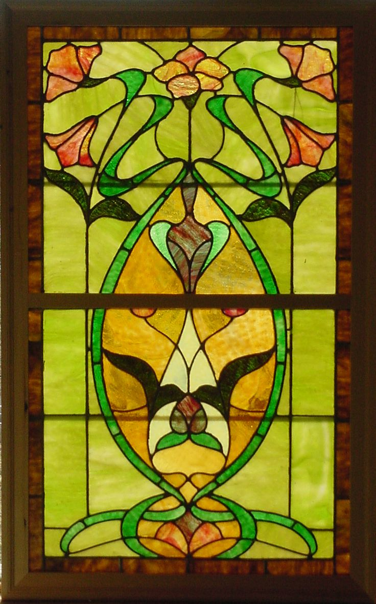 Antique stained glass doors - Antique Stained Glass Windows Antique American Art Nouveau Double Hung Stained Glass Window Set 27