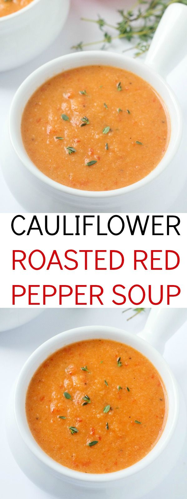 An out-of-this-world delicious cauliflower roasted red pepper soup recipe!