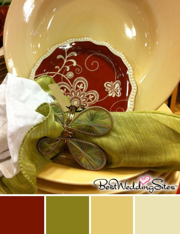 Rustic Color Palette In Burgundy Olive Green And Golden