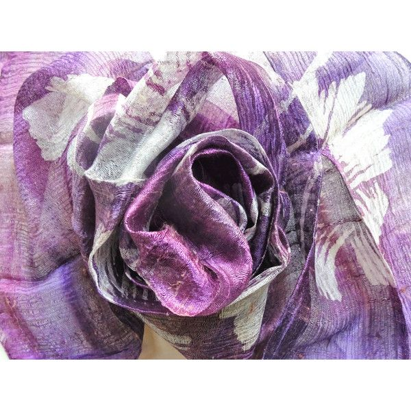 Purple Silk Scarf Hand Dyed Handwoven Light Weight Batik Natural Pure Raw Silk Wedding Accessories Handmade Wedding Gift For Her (€15) found on Polyvore featuring women's fashion, accessories, scarves, purple silk scarf hand dyed handwoven light weight batik natural pure raw silk wedding accessories h, light weight scarves, lightweight shawl, purple scarves, silk shawl and batik scarves