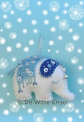 Beautiful oriental elephant feltie, time consuming but perhaps something to think about making for a special recipient!