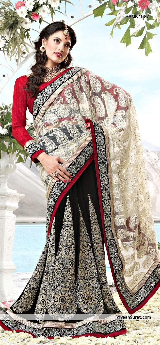 Beautiful Chikankari Half And Half Saree