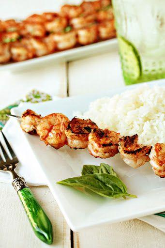 Marinated Grilled Shrimp With Garlic, Olive Oil, Tomato Sauce, Red Wine Vinegar, Fresh Basil, Salt, Cracked Black Pepper, Cayenne Pepper, Shrimp