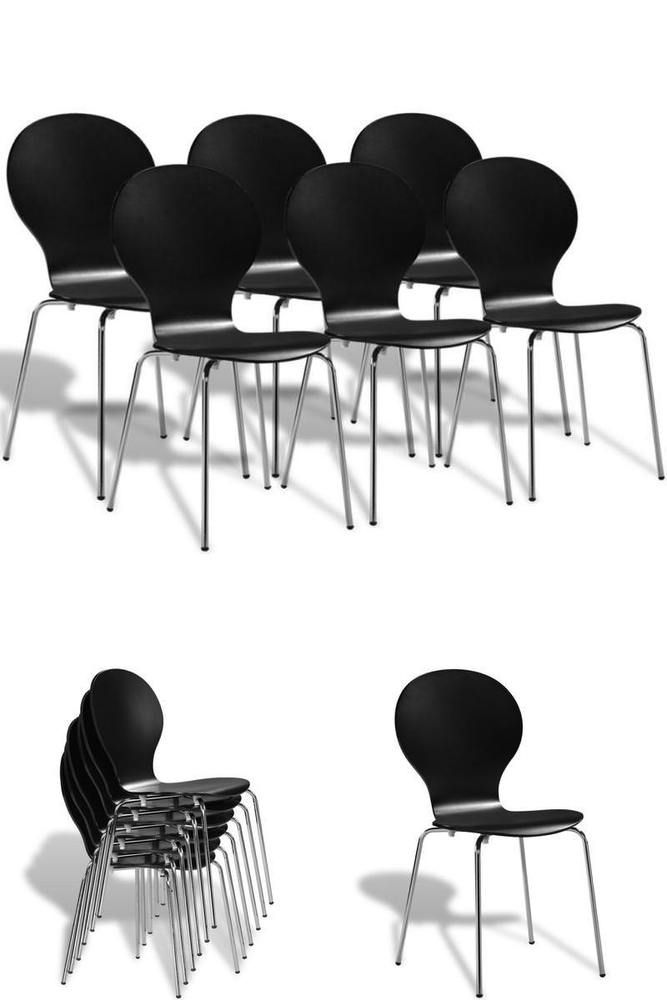 Bar Restaurant Chairs Set 6 Black Wooden Metal Home School Dining Stacking Seats