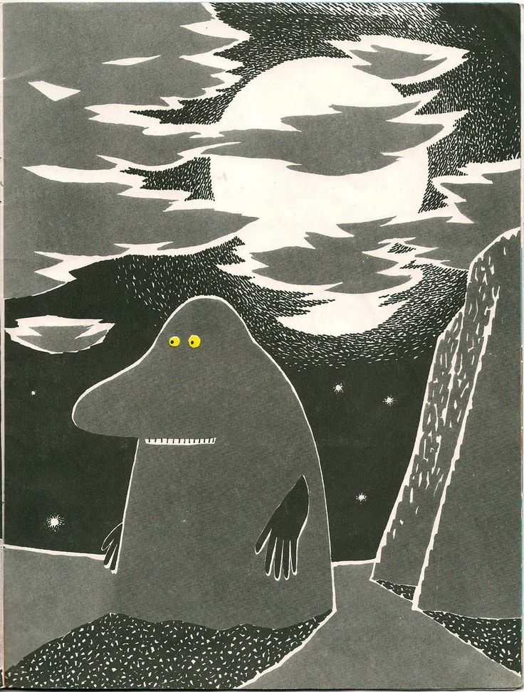I love the bold graphics in Tove Jansson's pictures for her book Who Will Comfort Toffle? If you have never read any Moomin books, I urge you to do so.
