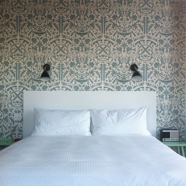 cleanly editedBrooklyn Wallpapers, Wall Paper, Blue Bedrooms, Toile Wallpapers, Master Bedrooms, Wallpapers Sconces, Wythe Hotels, Wallpapers Design, White Heat