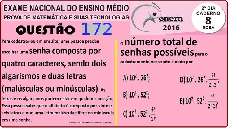 CURSO MATEMÁTICA ENEM 2016 QUESTÃO 172 PROVA ROSA RESOLVIDA EXAME NACION... https://youtu.be/eEqe80HHvSc