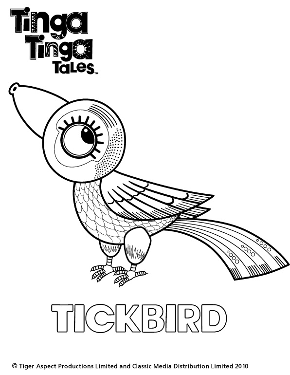 Tinga Tinga Tales Black and white picture of Tickbird