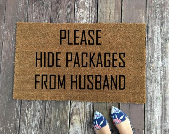 "Please Hide Packages From Husband Doormat Welcome Mat 18""x30"" Coir Rug Christmas Gift Gifts for him"