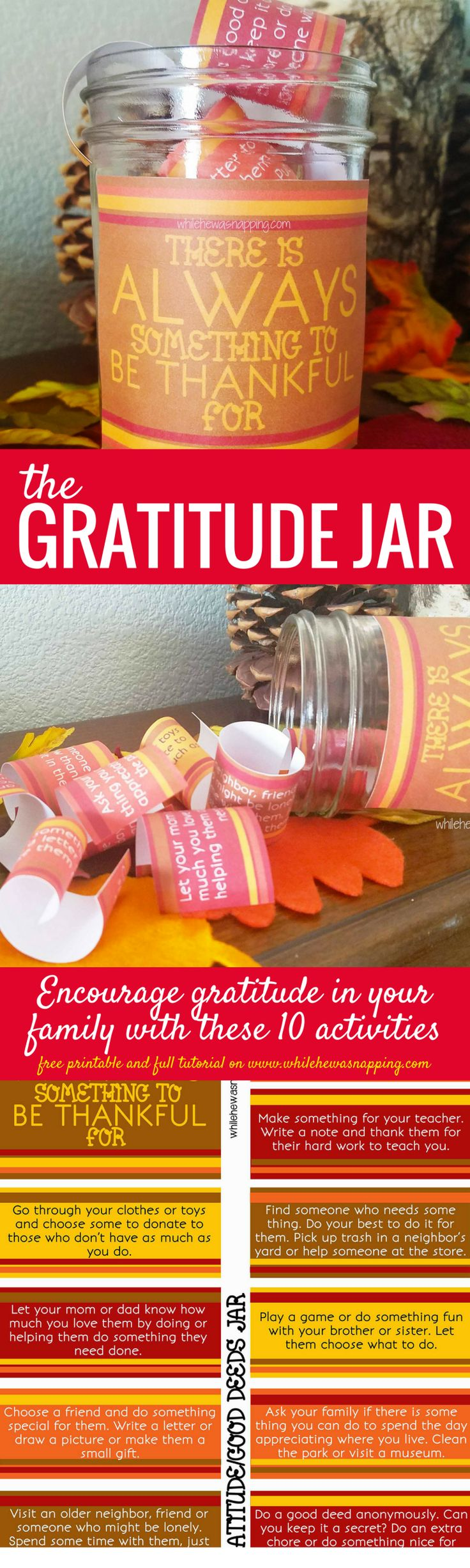 The Gratitude Jar encourages service and gratitude in your family with 10 fun activities that focus on helping others and saying thank you