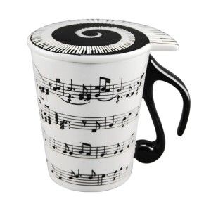 Mugs For The Music Lover Musician Coffee Mug with Lid Staves Music Notes