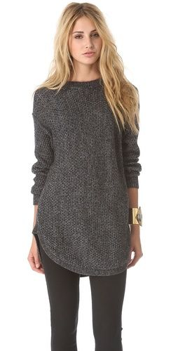 DKNY Novelty Stitch Pullover grey knit sweater