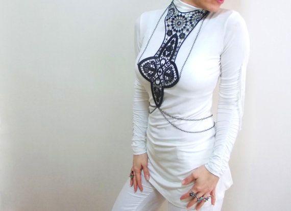 Lace Necklace Black lace body harness bold by HAREMDESIGN on Etsy