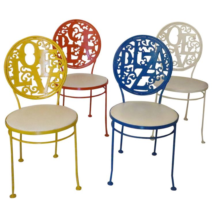 Set of Four Dining Chairs Peace, Love and Pizza | From a unique collection of antique and modern chairs at https://www.1stdibs.com/furniture/seating/chairs/
