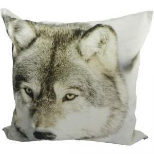 Coussin Wolf - Toile 100% coton, intérieur 100% polyester. Déhoussable. Dimensions : 45 x 45 cm.