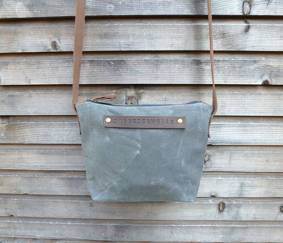waxed canvas small day bag/satchel in grey by treesizeverse