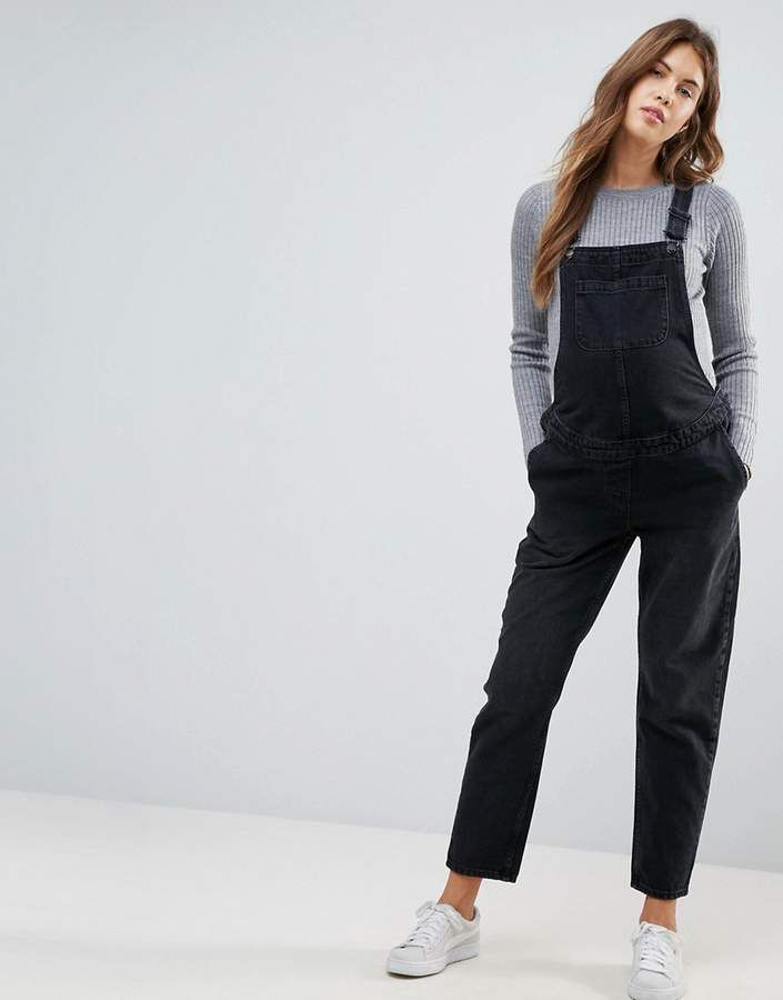 9376e29d00fe ASOS Maternity ASOS DESIGN Maternity denim overall in washed black ...