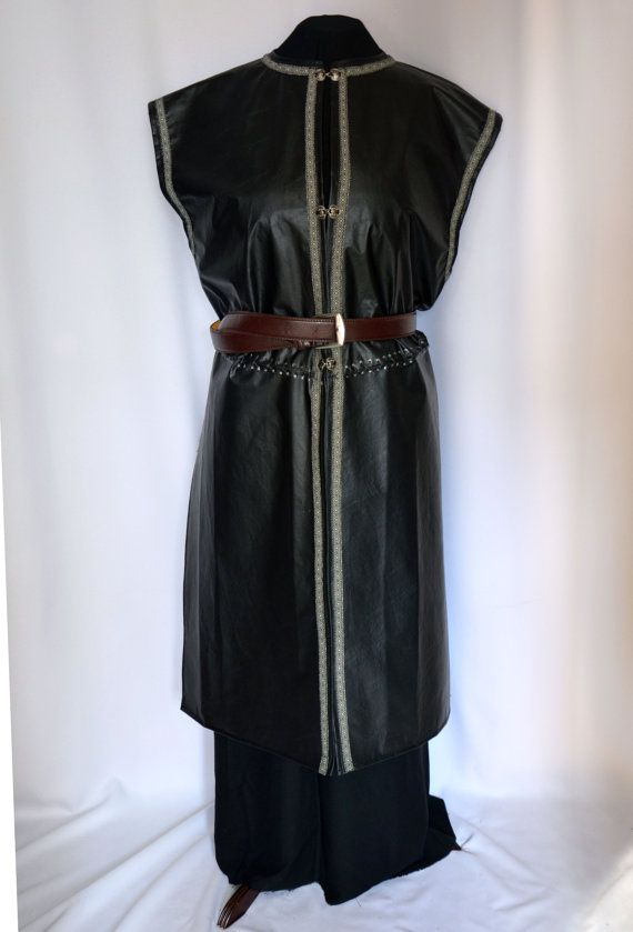 Faux leather surcoat over tunic for Medieval King, Lord, Knight costumes, for LARP, SCA and Halloween