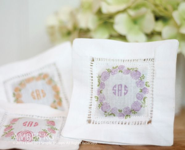 Monogram Sachets   Clear and Simple Stamps Alpha Monogram Mini and Build-a-Wreath: Spring - full supply list on blog