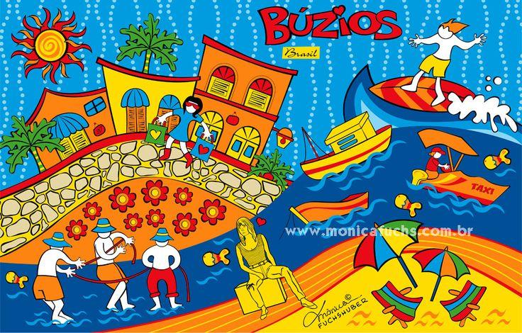 BÚZIOS - Rio de Janeiro - Brasil // Quer comprar produtos com essa ilustração? https://www.colab55.com/@monicafuchshuber