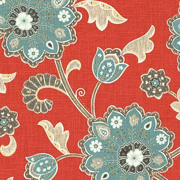 Red & Aqua Stylized Floral Fabric - mediterranean - Upholstery Fabric - Loom Decor