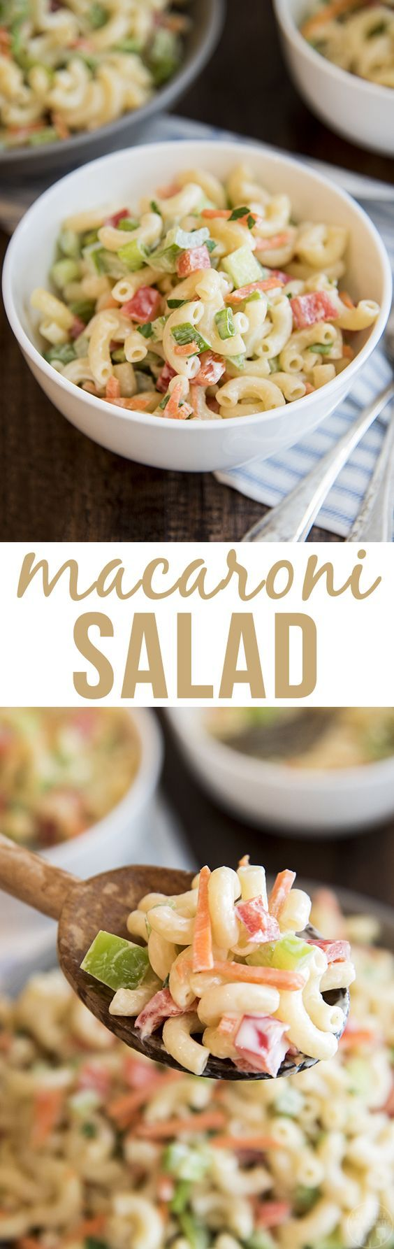 This creamy macaroni salad is loaded full of fresh crunchy vegetable