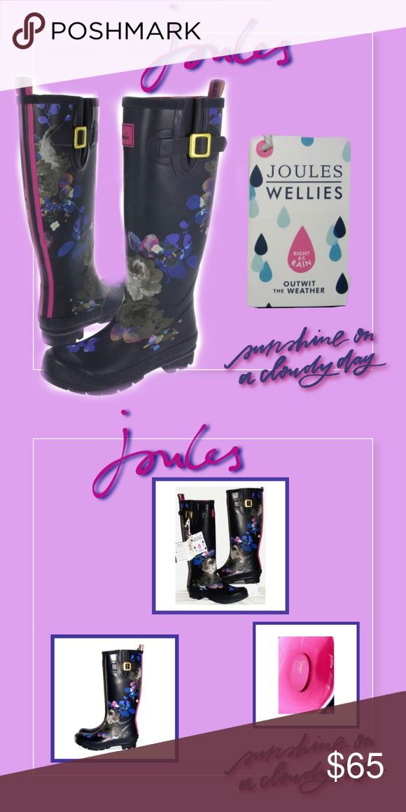 NWT - Joules Navy Floral Wellies Brand New Joules Wellies in a gorgeous navy floral pattern. Women's size 7. Joules Shoes Winter & Rain Boots
