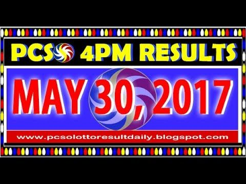 PCSO MidDay - 4PM Results May 30, 2017 (SWERTRES & EZ2)