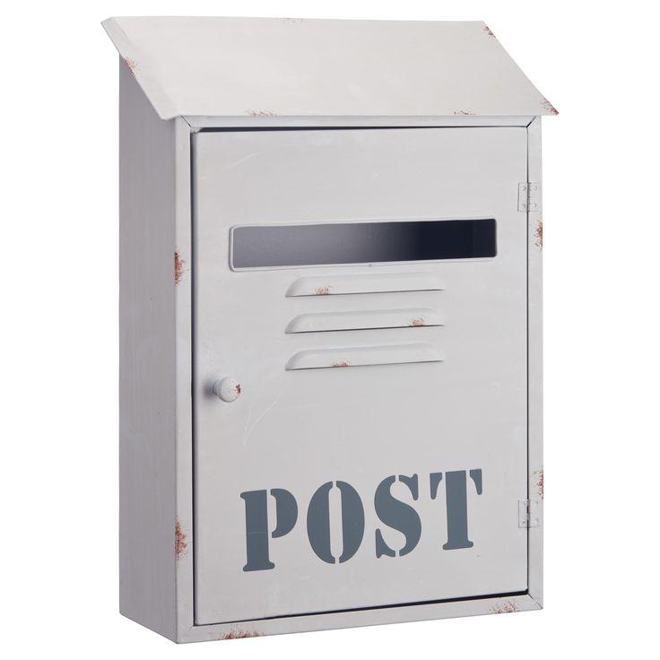 Stoere brievenbus van metaal. Kleur: wit. Afmeting: 26x10x37 cm (lxbxh). #tuin #brievenbus #stoerwonen #KwantumLente #tuindecoratie