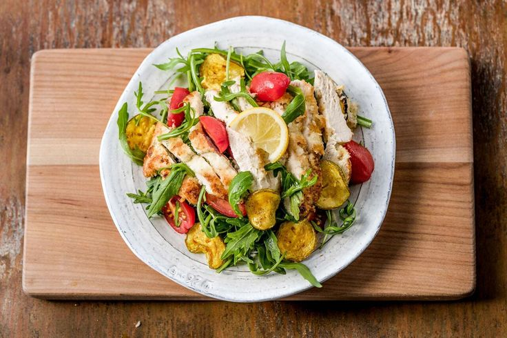 Chicken Milanese with Roasted Summer Squash, Tomatoes, and Arugula ...