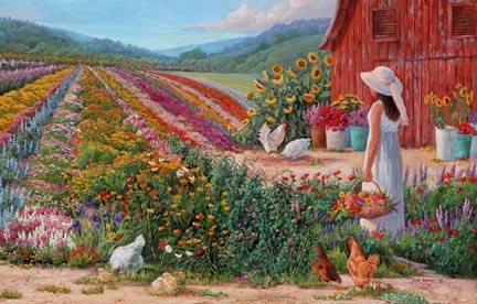 Country Living - Fine Artist June Dudley painter of realistic country gardens, poetic landscape paintings, and nostalgic scenes