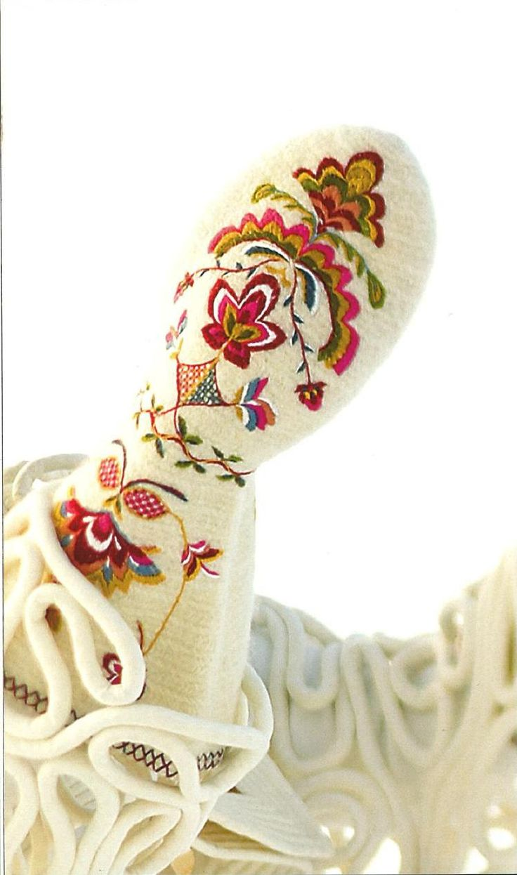 """Norwegian traditional nailbindning mitts with wool embroideries. series of mittens based on Heidi Fossnes' book """"Håndplagg til bunad og folkedrakter"""". The original pair of mittens was found in Sauherad in Telemark. The original pair came to the museum in 1892, but they do not know exactly how old they are. They do, however, have a similar pair at the museum, which they know is from 1811, because it is embroidered on the back of the mittens."""