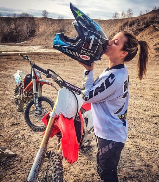 1st Phorm athlete & badass moto-chick Ami Houde with her new 1st Phorm helmet! This rules! #legionofboom #neversettle #motocross