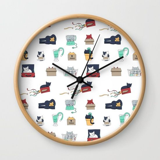 My cat pattern, Contain Yourself, on a clock! I think this clock is really cool. Link: https://society6.com/product/contain-yourself-pattern_iphone-case#s6-6014267p20a9v430a52v377 #cats #clock #homewares
