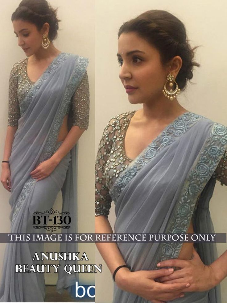 Grey Color Indian #Designer #Bollywood Replica Embroidered #Saree
