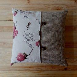Poduszka łączona len+róże