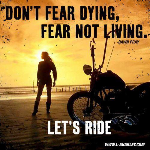 I love this quote. When I first took my first ride and got out on the open road, it just hit me and I felt free for the very first time in my life.  I have been ride ever sense.