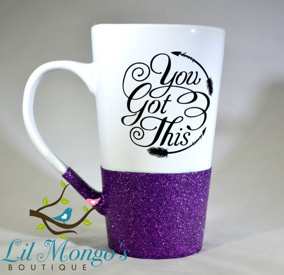 You Got This Inspirational Tribal Arrow Glitter Dipped Tall Latte Mug 16 oz Glittered Coffee Cup Ready To Ship